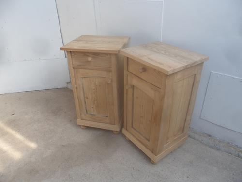 Panelled Tall Pair of Antique Pine Victorian Bedside Cabinets to wax / paint (1 of 8)