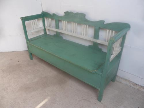 Painted Green / White Victorian Antique Pine Hall / Kitchen Box / Settle / Bench (1 of 9)