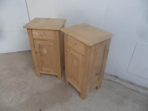 Tall Motif Pair of Antique Pine Victorian Bedside Cabinets to wax / paint (1 of 7)