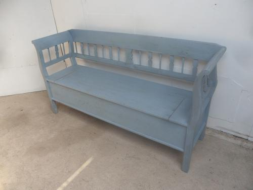 Painted Sky Blue 2/3 Seater Antique Pine Hall / Kitchen Box / Settle / Bench (1 of 10)