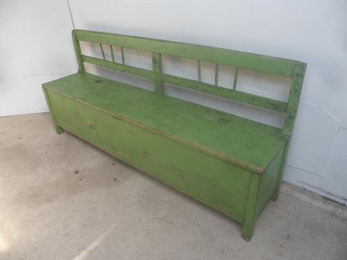 Gorgeous Georgian Green Antique Pine Hall / Kitchen Box / Settle / Bench (1 of 11)