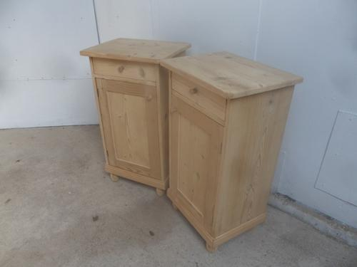 Large Pair of Antique Pine Victorian Bedside Cabinets to wax / paint (1 of 8)