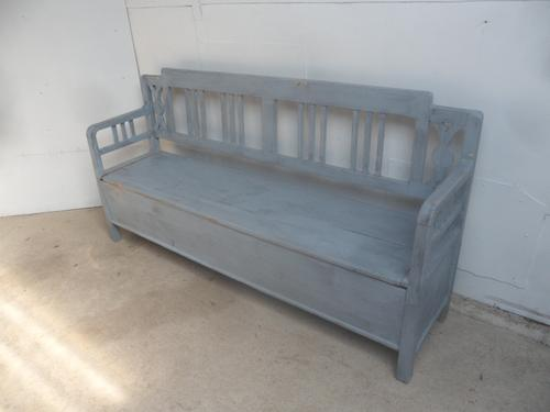 Painted Sky Blue Stepped Victorian Antique Pine Kitchen Box / Settle / Bench (1 of 9)