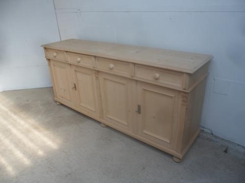Lovely Reclaimed Pine 2 Metre 4 Door Dresser Base / TV Stand to wax / paint (1 of 10)