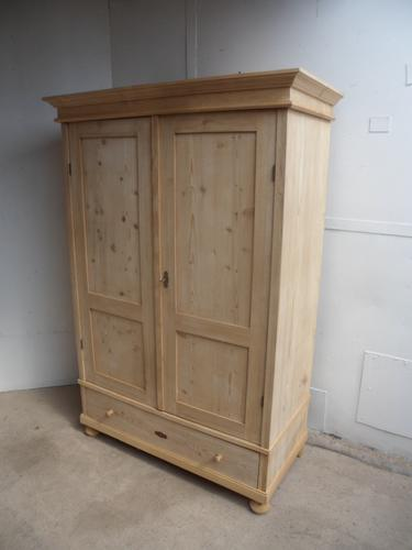 Quality Cottage Low Antique Pine Knockdown Wardrobe to wax / paint (1 of 11)