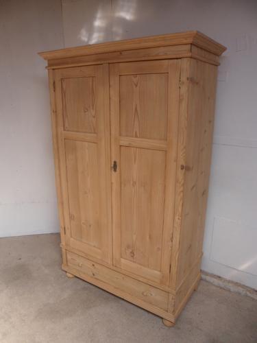 Stunning Deep 2 Door Antique Pine Knockdown Wardrobe to wax / paint (1 of 11)