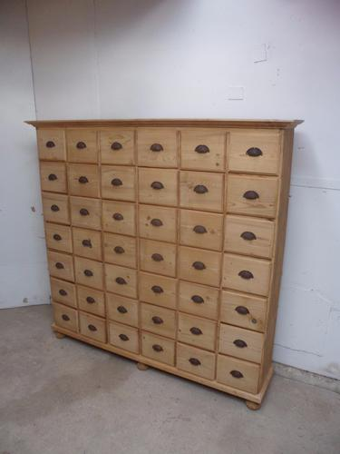 Superb Large Old Pine Shop Fitting Bank of 42 Drawers (1 of 1)