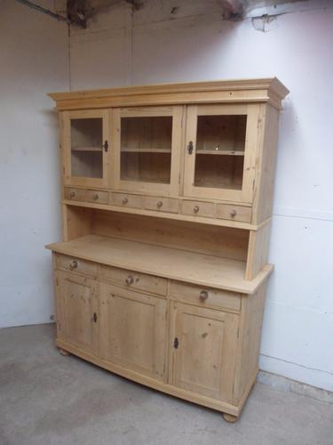 Superb 1930s Art Deco Old Pine Bow Fronted Kitchen Dresser to Wax Paint (1 of 1)