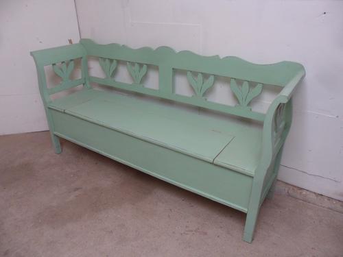 Lovely Old Pine Shabby Chic Light Green 3 Seater Box Settle / Bench (1 of 1)
