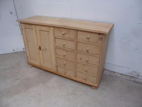 Top Quality Large Old Pine 2 Door 10 Drawer Dresser Base to wax / paint c.1920 (1 of 1)