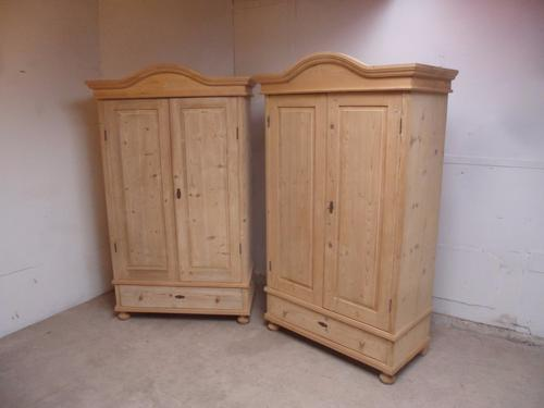 Superb Pair of Pine Arch Top Knockdown Wardrobes to wax / paint c.1920 (1 of 1)
