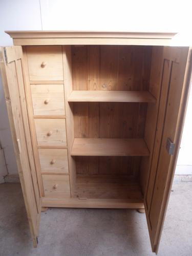 Fantastic Large 2 Door 5 Drawer Pine Child's Wardrobe to wax / paint c.1920 (1 of 1)