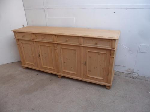 Quality Large Reclaimed Pine 4 Door Moulded Kitchen Dresser Base to wax / paint (1 of 1)