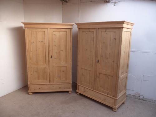 Stunning Matching Pair of Old Pine Knockdown Wardrobes to wax / paint (1 of 1)
