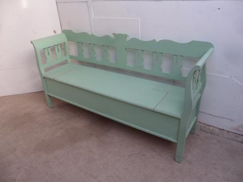 Really Pretty Pine Painted Light Green Shabby Chic Box Settle Bench c.1920 (1 of 1)