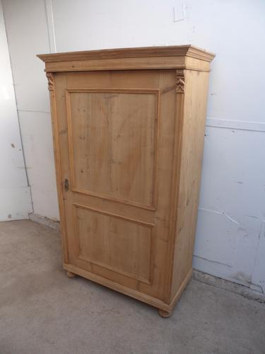 Lovely Late Victorian Antique Pine 1 Door 2 Moulded Panel Cupboard to wax / paint (1 of 1)