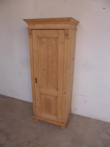Lovely Tall Pine 1 Door Extra Deep Child's Wardrobe to wax / paint c.1920 (1 of 1)
