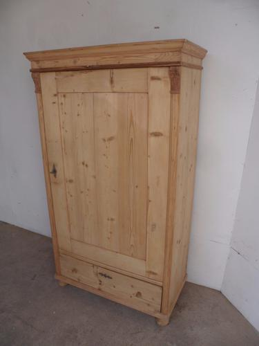 Quality Late Victorian Antique Old Pine 1 Door 1 Drawer Wardrobe to wax / paint (1 of 1)