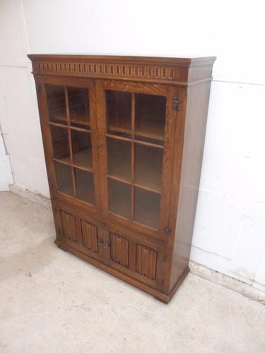 Quality 1920s Glazed Linen Fold 4 Door Adjustable Bookcase (1 of 1)