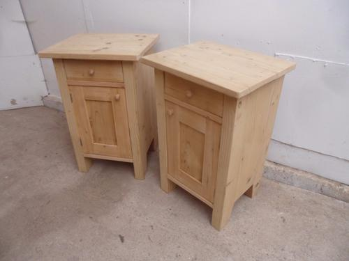 Lovely Pair of Old Pine Small Square Bedside Cabinets to wax / paint (1 of 1)