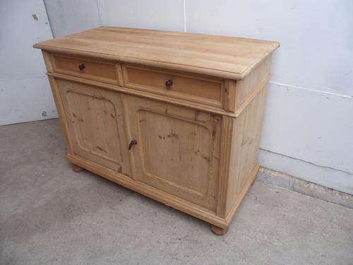 Superb Large Old Pine 2 Door 2 Drawer Kitchen Dresser Base to wax / paint (1 of 1)