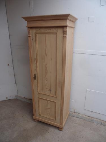 Lovely Tall Thin Old Pine 1 Door Child's Wardrobe / Storage Cupboard (1 of 1)