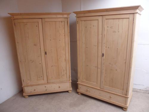 Lovely Matching Pair of Old Pine Knockdown Wardrobes to wax / paint (1 of 1)