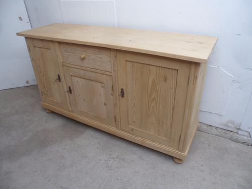 Superb Large Old Pine 3 Door 1 Drawer Kitchen Dresser Base to wax / paint (1 of 1)