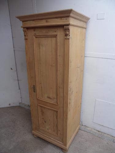 Really Pretty Tall Thin 1 Door Old Pine Hall Shoe Cupboard to wax / paint (1 of 1)