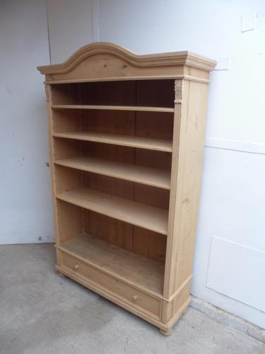 Really Good Large Old Pine Arch Top Adjustable Bookshelf to wax / paint (1 of 1)