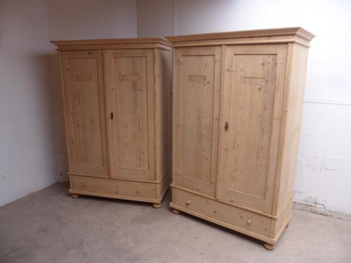 Beautifully Carved Pair of Old Pine Knockdown Wardrobes to wax / paint (1 of 1)