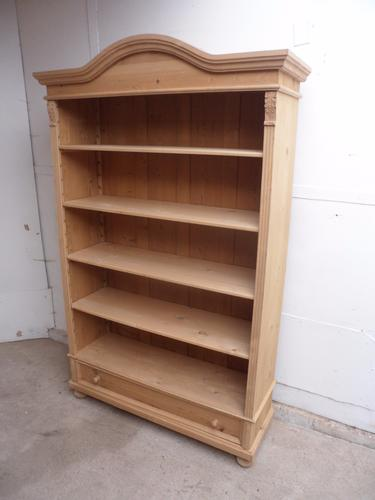 Super Nice Large Old Pine Arch Top Office Bookshelf to wax / paint (1 of 1)