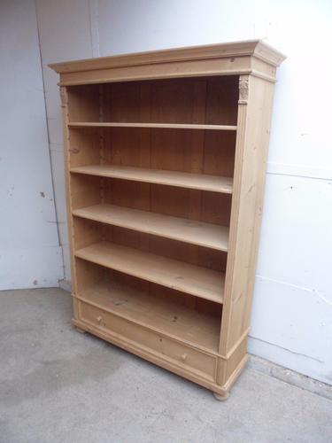 Really Large Old Pine 4 Adjustable Shelf Bookshelf to wax / paint (1 of 1)