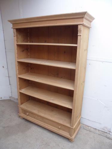 Cracking Large Old Pine 4 Adjustable Shelf Bookshelf to wax / paint (1 of 1)
