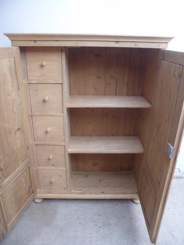 Fantastic Large Pine 2 Door 5 Drawer Child's Wardrobe to wax / paint (1 of 1)