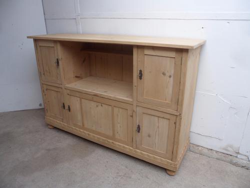 Super Nice Old Pine Unusual 5 Door Open Storage Cupboard to wax / paint (1 of 1)