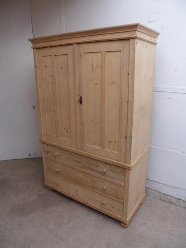 Quality 2 Piece Large Old Pine Linen Wardrobe to wax / paint (1 of 1)