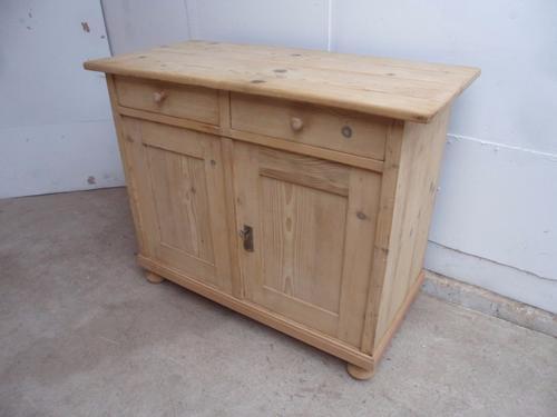 Classic Late Victorian Antique Pine 2 Door Kitchen Dresser Base to wax / paint (1 of 1)