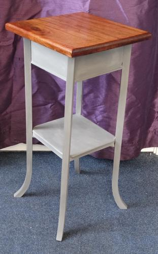 Oak Two Tier Occasional Table / Plant Stand Gray Painted Base (1 of 7)