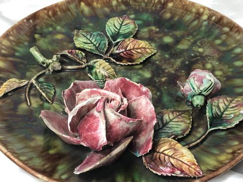 Antique Art Nouveau French Porcelain High Relief Rose Foliage Wall Plate Plaque (1 of 36)