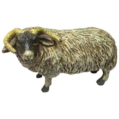 Early 20th Century Cold Painted Bronze Male RAm Horn Sheep Sculpture by Franz Bergman (1 of 29)