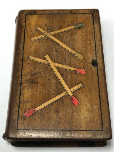 Rare Antique Olivewood Inlaid Marquetry Vesta Match Striker Case Book (1 of 18)