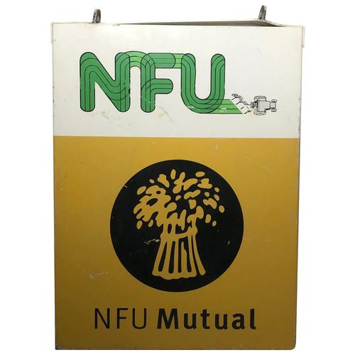 Large 20th Century Original Double Sided National Farmers Union Mutual Enamel Sign (1 of 34)