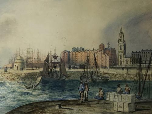 Early Victorian 19th Century Maritime Watercolour Liverpool Mersey Ships St George's Basin T Hargreaves (1 of 35)