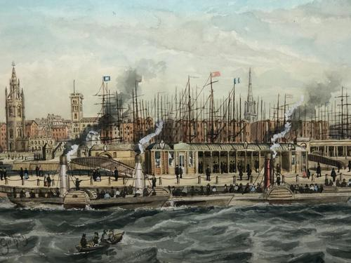 Antique Victorian 19th Century Watercolour Painting Liverpool Paddle Ferry Ships Mersey Mcgahey (1 of 24)