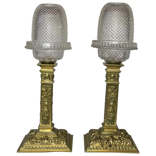 Pair RAre Victorian Clarke's Cricklite Gilt Bronze Cut Glass Domed Shades Fairy Lamps Candelabra's (1 of 48)