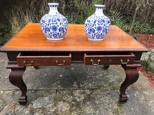 Large Antique 19th Century Regency Style Rosewood Writing Table / Partners Desk (1 of 32)