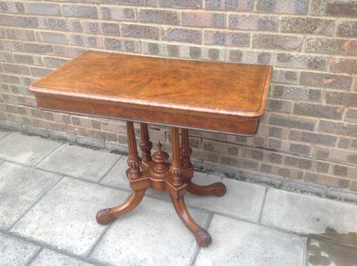 Victorian Walnut Fold Over Card / Games / Side Table (1 of 1)