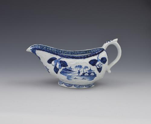 Early Derby Porcelain Blue & White Sauce Boat Chinese Scenes C.1760-1765 (1 of 15)