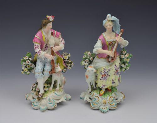 Pair Early Derby Figures Pair Sitting Piper & Guitar Model 301 18th Century (1 of 13)
